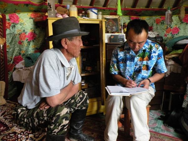 Interviewing a Mongolian pastoralist