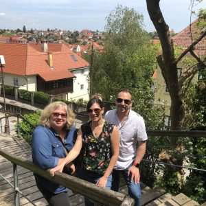 Chair Mica Glantz (left), with Professor Connie Fellmann and Professor Michael Pante, in Croatia