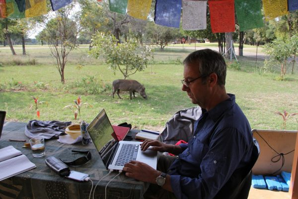 Professor David Bunn assessing data from the field house in Kruger National Park in South Africa where he and Melissa McHale lived. A bored warthog grazes nearby.