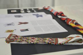 Math book with beadwork examples