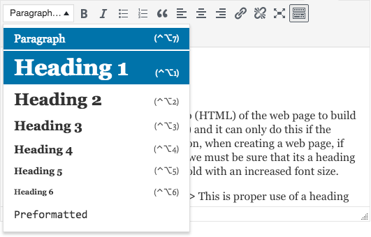 A screenshot of where the WordPress editor text format dropdown is located.