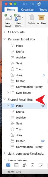 Screenshots - Shared Email box on Mac
