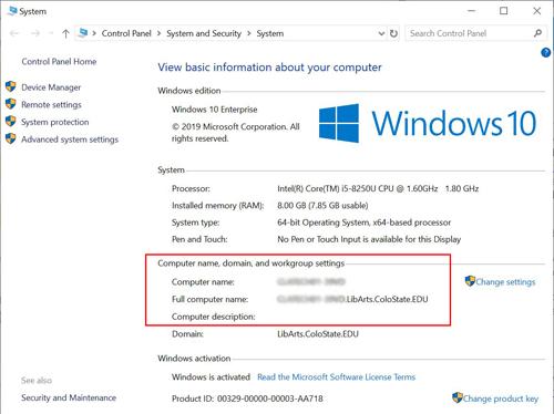 Screenshot PC computerName