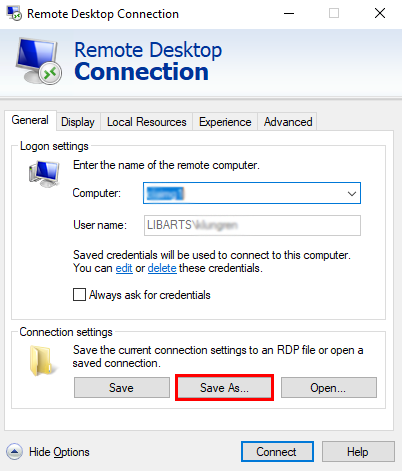 Remote Desktop Screenshot- Save as