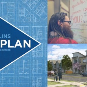 Event banner for Fort Collins City Plan forum. Includes man writing on white board and mock up of city street with town homes.