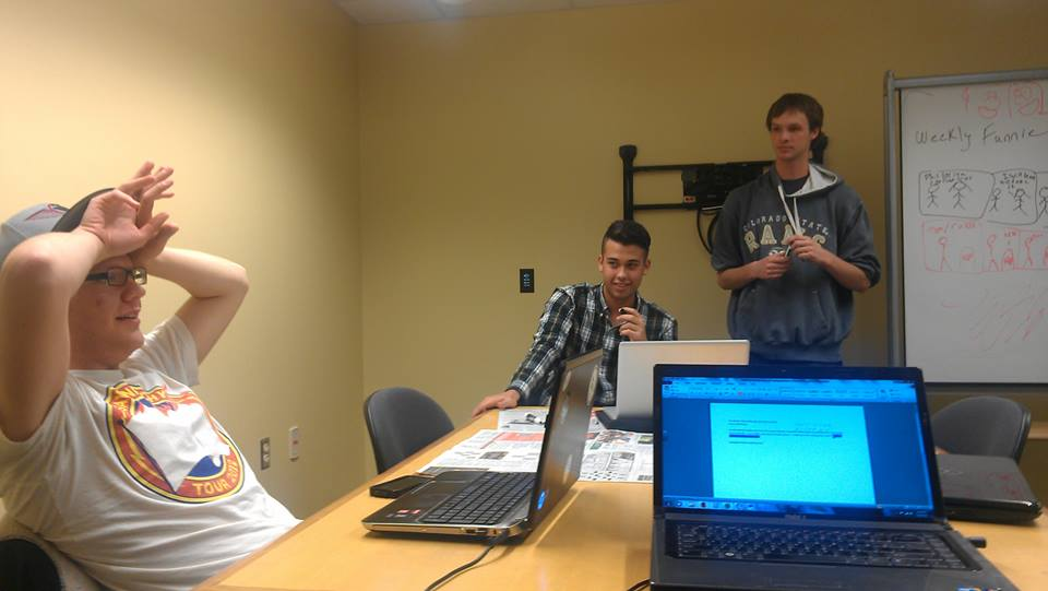 Meeting a deadline. From left to right: Andrew Walker, Patrick Hoehne, Niles Hachmeister