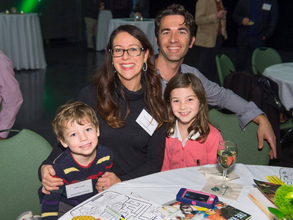 Professor Roze Hentschell and family (husband, Thomas Cram, daughter Eleanor, and son Felix) pictured attending the Newly Promoted and Tenured Faculty Reception at Colorado State University on Dec. 1. Other English faculty, Professor Ellen Brinks and Associate Professor EJ Levy, were also honored.