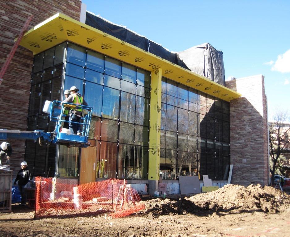 Construction progress on the main entrance of Eddy Hall