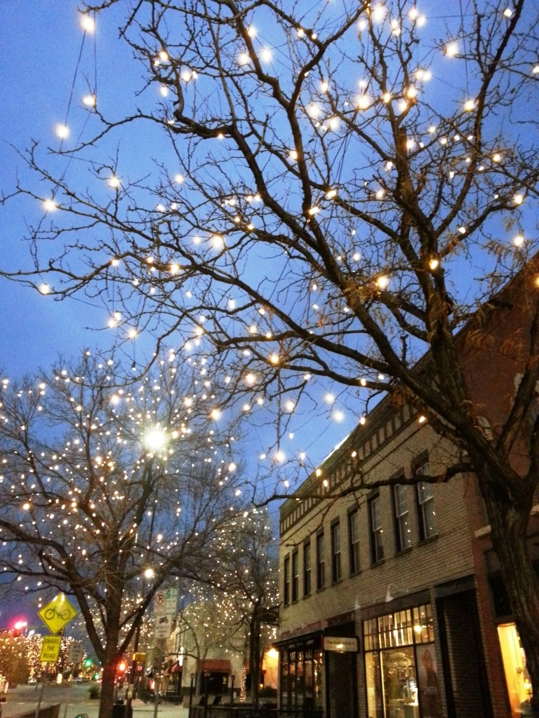 Winter lights in Old Town Fort Collins, image by Jill Salahub
