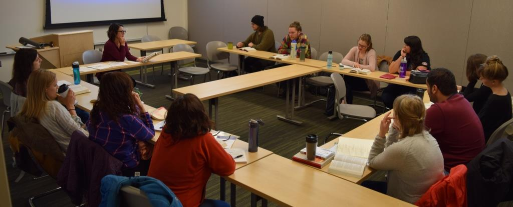 Professor Roze Hentschell teachers her E630C: Space and Place in Literary Studies class, Spring 2016
