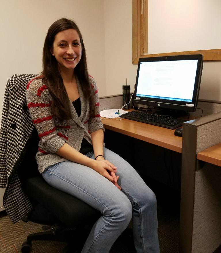Chelsea Hansen, in the computer lab working on her thesis.