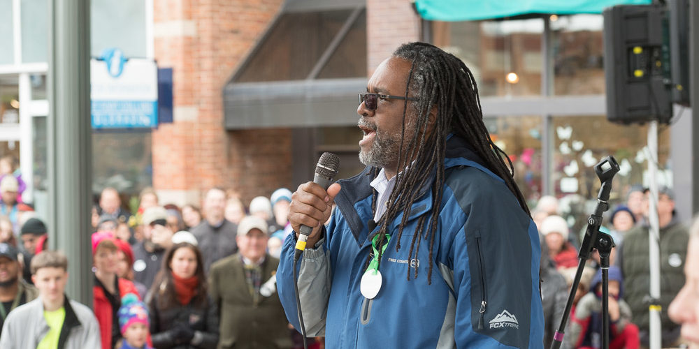 CSU Ethnic Studies Assistant Professor Ray Black gave the charge to the marchers in Old Town for the MLK Day March.