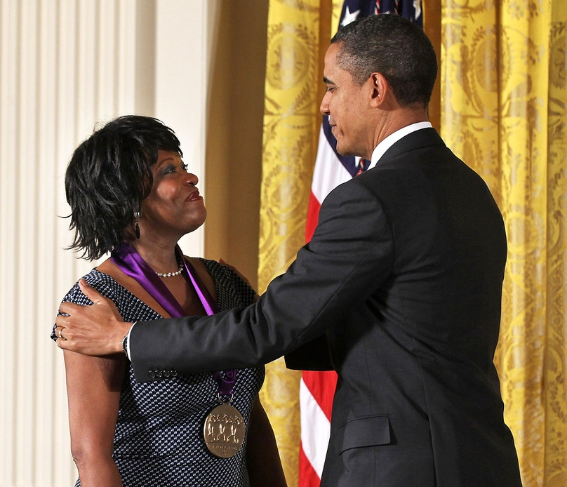 February 12, 2012: Poet and author Rita Dove is presented with a National Medal of Arts by U.S. President Barack Obama during an East Room ceremony at the White House in Washington, D.C. Dove was presented with the medal for her contributions to American poetry and literature. (Alex Wong/Getty Images North America)