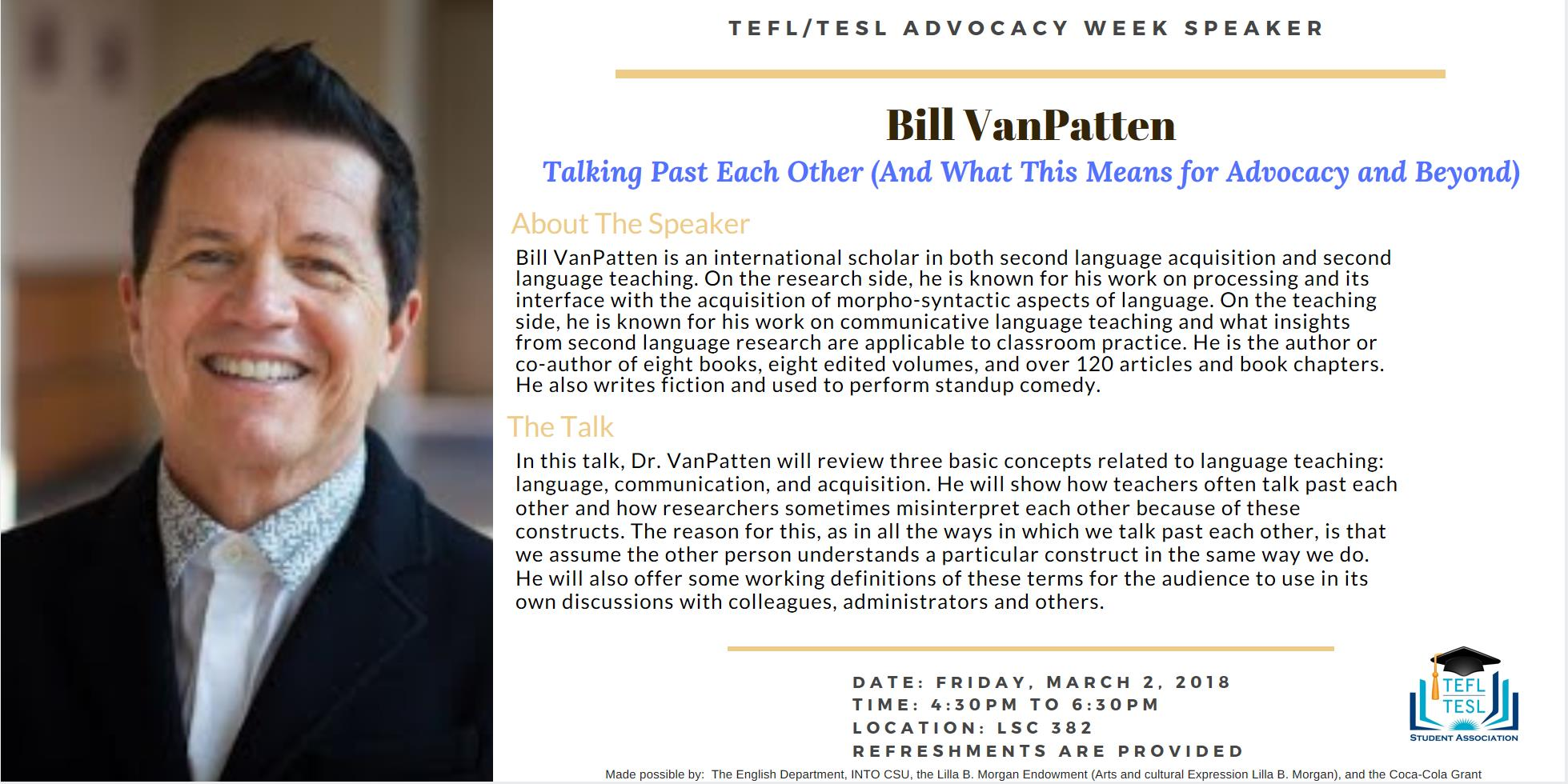 9e3223d8337490 Bill VanPatten Keynote Speech description (about the speaker and the talk)  with a picture