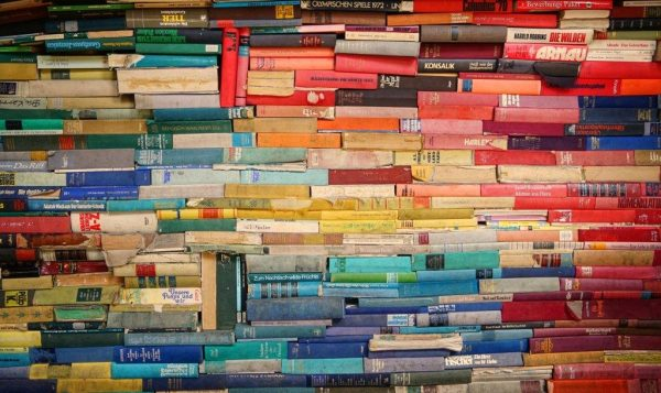 Stack of books, rainbow colors