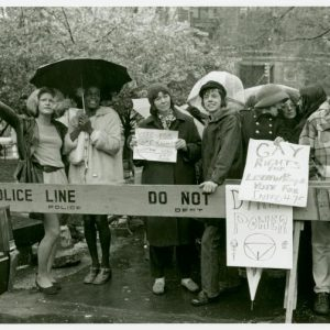Gay rights activists at City Hall rally for gay rights: Sylvia Ray Rivera, Marsha P. Johnson, Barbara Deming, and Kady Vandeurs, 1973