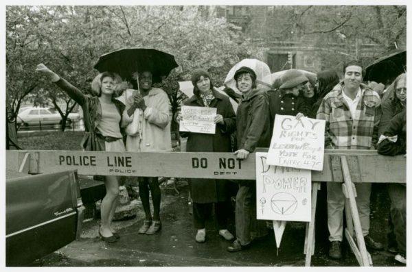 Gay rights activists at City Hall rally for gay rights: Sylvia Ray Rivera, Marsha P. Johnson, Barbara Deming, and Kady Vandeurs, 1973