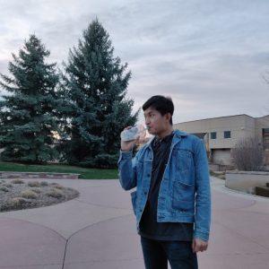 Frank drinking Boba tea
