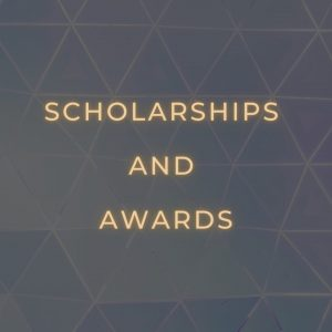 "the words ""scholarships and awards"" in gold letters on a dark background"