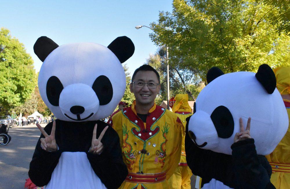 Professor Jun with pandas, Homecoming 2018