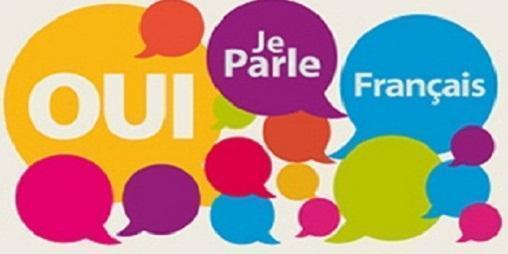 french text in speech bubbles: Oui, Je Parle, Français