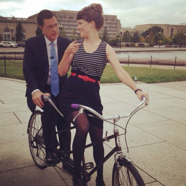 Nelle Pierson, 2010 with Stephen Colbert on a tandem bike