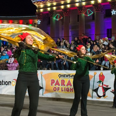 The Colorado State Marching Band Performs in the 9News Parade of Lights in downtown Denver, December 5, 2014.