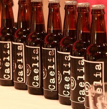 A photo of bottles of caelia cerveza.