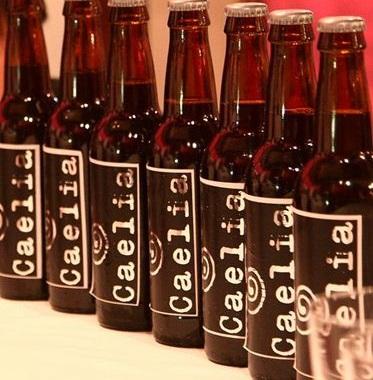 A photo of bottles of caelia cerveza.