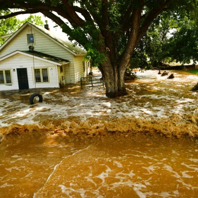 Flood waters consumed a house in Hygiene, CO