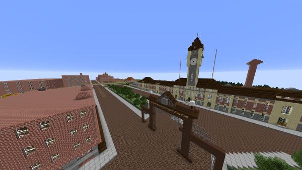 For the project, students have re-created many buildings, such as the old train station, using Minecraft blocks. Photo Illustration created using Minecraft. Credit: Chapman Croskell