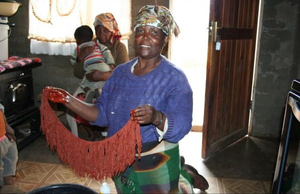 Maria making art in Africa.
