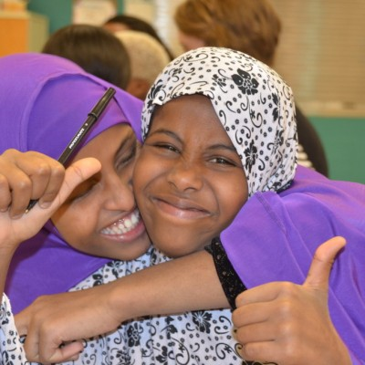 Fort Morgan residents Nimo Elmi, left, and Khadro Abdi at a community workshop.