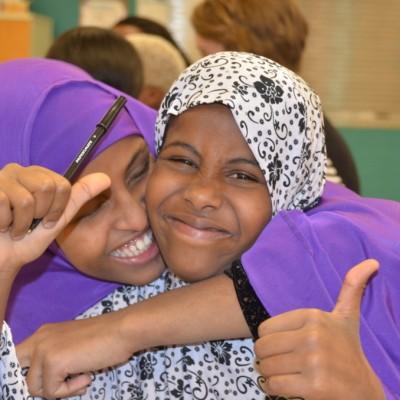 Fort Morgan residents Nimo Elmi, left, and Khadro Abdi at a community workshop.