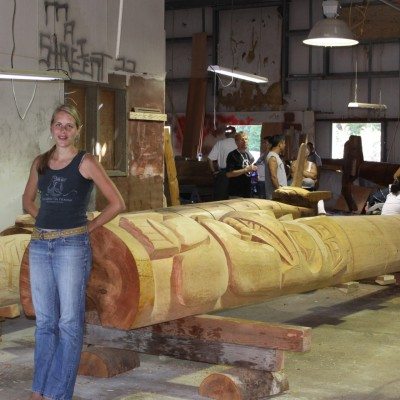 Emily Moore and totem poles