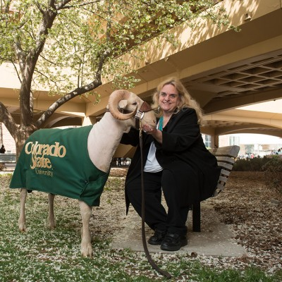 Ann Gill, former Dean of the College of Liberal Arts, with Cam the Ram, April 18, 2016