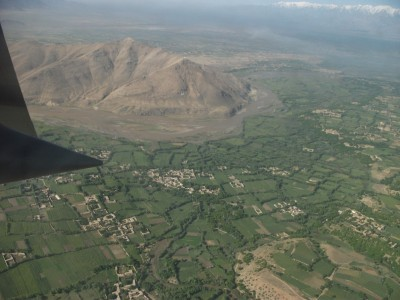 Aerial view of Afghanistan from a the paratroop door