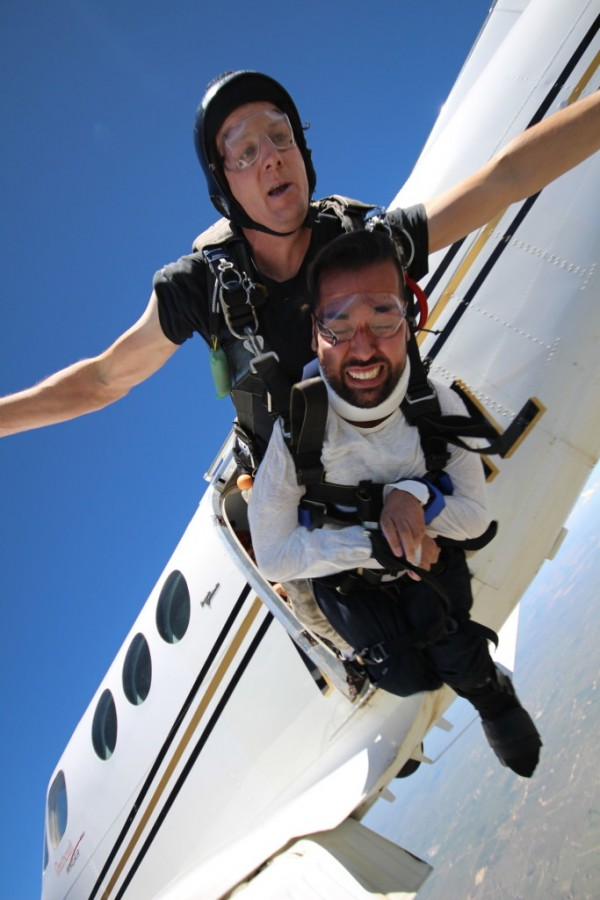 Akmakjian went skydiving last year to celebrate his 24th birthday.