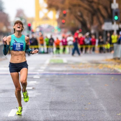 "Sarah ""Mac"" Robinson finishing the California International Marathon"