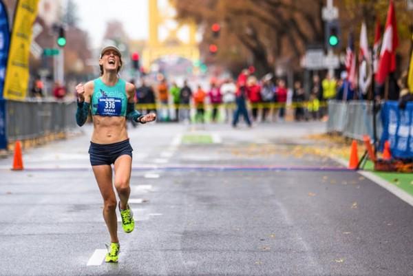 "Sarah ""Mac"" Robinson finishing the California International Marathon. Credit: Sean Dulancy"