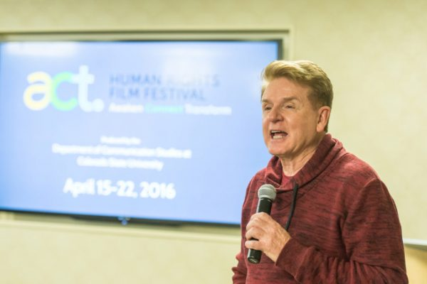Media strategist and Colorado State University Communication Studies alumnus Jim Vidakovich talks about plans for the ACT Human Rights Film Festival's future at a VIP reception, April 16, 2016.