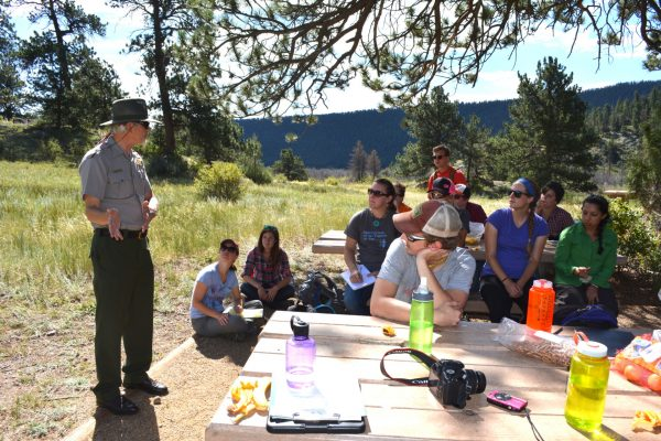 PLHC students listen to a ranger in Rocky Mountain National Park