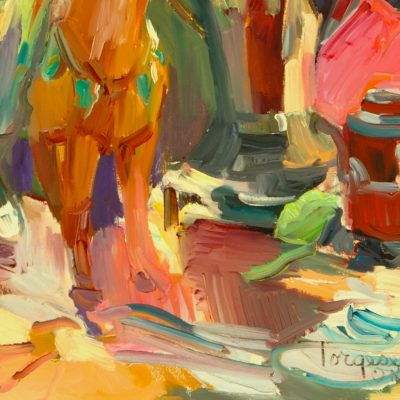 colorful painting of tea kettle
