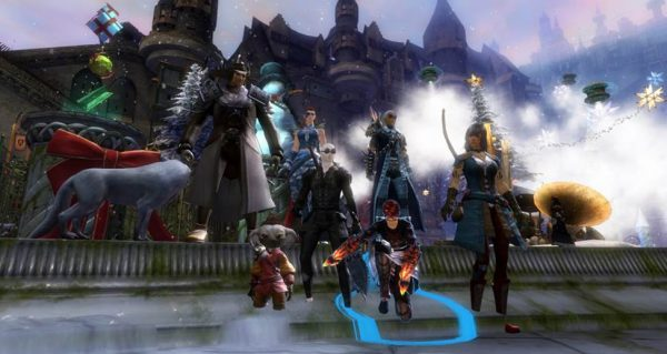 The avatars of Jeffrey Snodgrass (center) and CSU students in ERTL virtual worlds research team in the gaming world, Guild Wars 2.