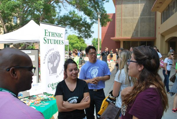 Students and staff from Ethnic Studies talk to students at Clark