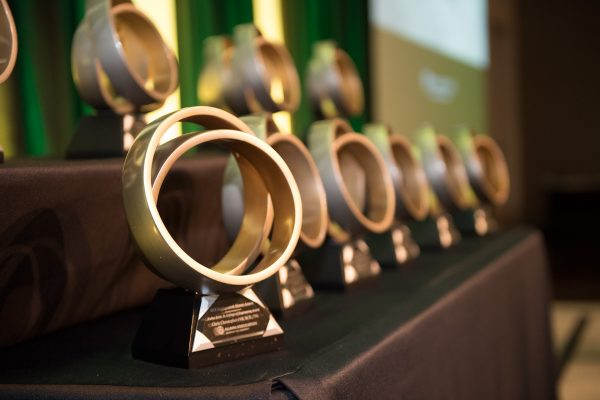 Distinguished Alumni Award trophies