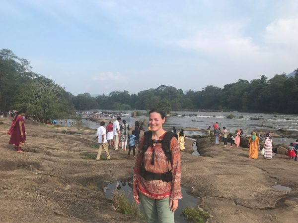 Eleanor Moseman at the Athirappilly Waterfalls in India