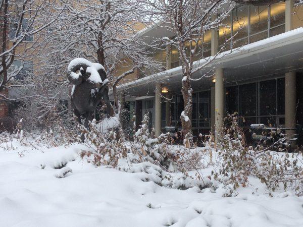 Snow on CAM the Ram statue