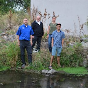 Jonathan Carlyon, Steven Fassnacht, Anthony Islam, and Lenka Doskcil by the CSU GetWET Observatory