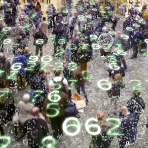 Mobile devices emitting data in a crowd of people